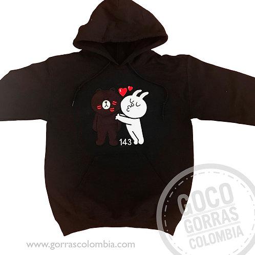 buso negro personalizado line oso y conejo