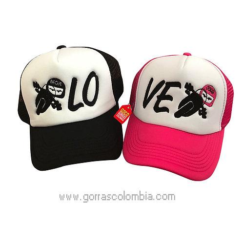 gorras fucsia y negra frente blanco para pareja love moto