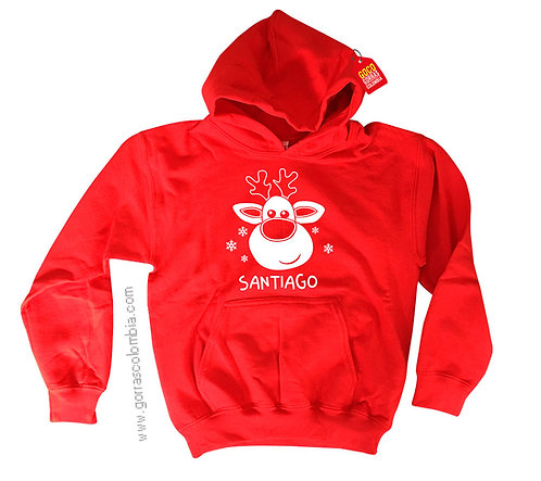 buso rojo con capota para niño reno de navidad