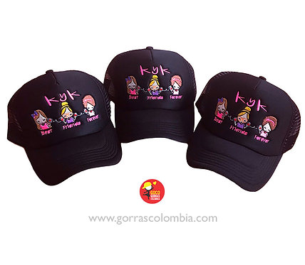gorras negras unicolor para amigas best friends forever