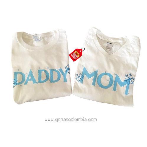 camisetas blancas para familia daddy y mom