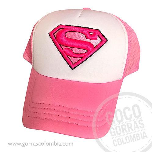 gorra fucsia frente blanco superman mujer