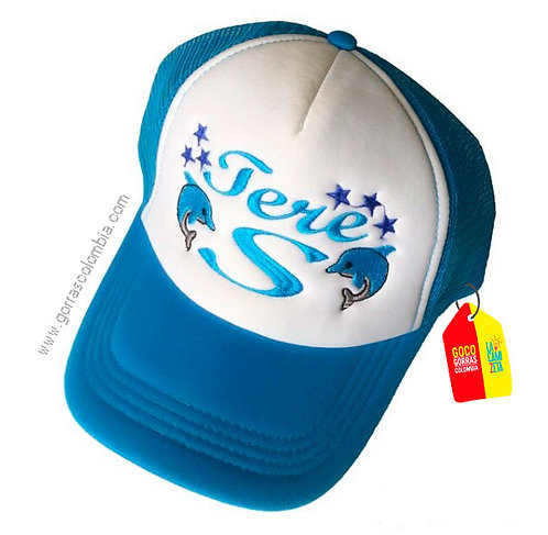 gorra azul frente blanco personalizada delfines