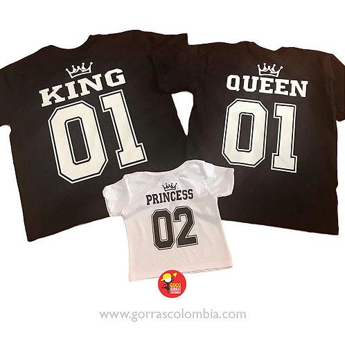 camisetas negras y blanca para familia king queen y princess