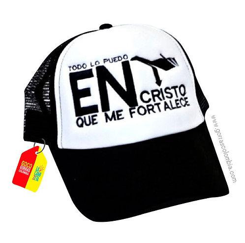 gorra negra frente blanco personalizada todo lo puedo en cristo