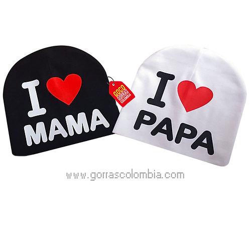 gorro negro y blanco para bebe papa y mama
