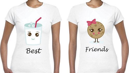 camisetas blancas para amigas best friends leche y galleta