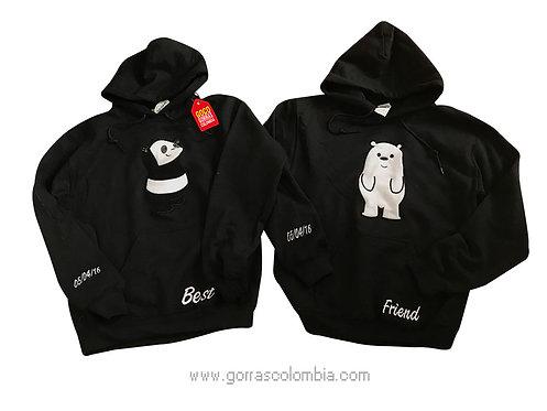 busos negros con capota para amigas best friend osos