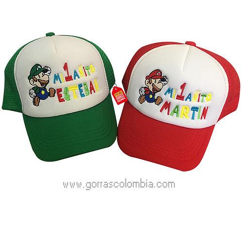 gorras roja y verde frente blanco para niño mario y luigi