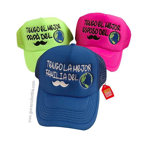 gorras varios colores unicolor para familia la mejor familia del mundo