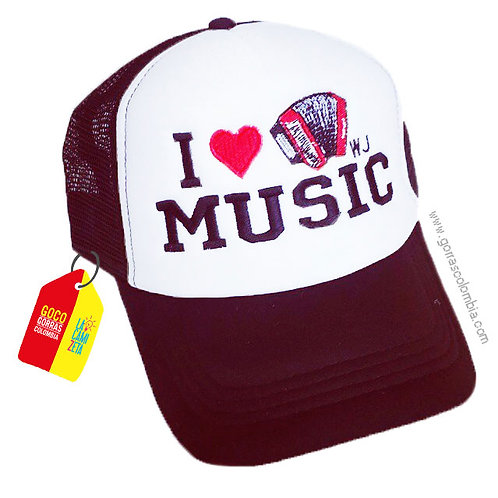 gorra vinotinto frente blanco personalizada i love music