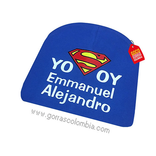 gorro azul para bebe yo soy de superman con nombre