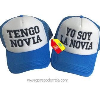gorras azules frente blanco para pareja tengo novia