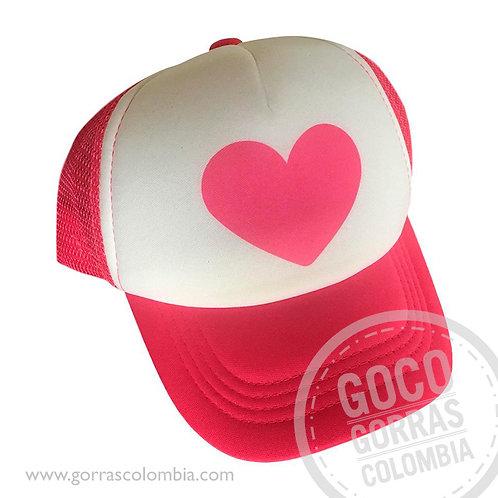 gorra fucsia frente blanco personalizada corazon