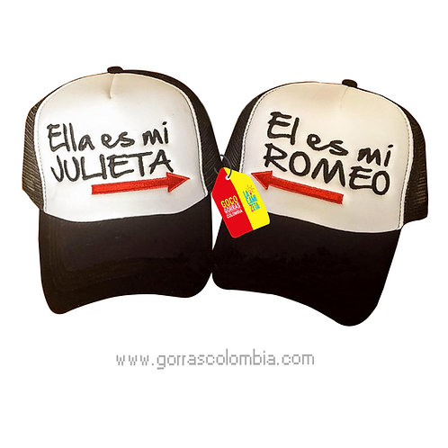 gorras negras frente blanco para pareja romeo y julieta
