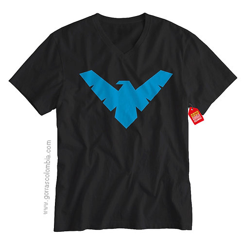 camiseta negra de superheroes dick grayson