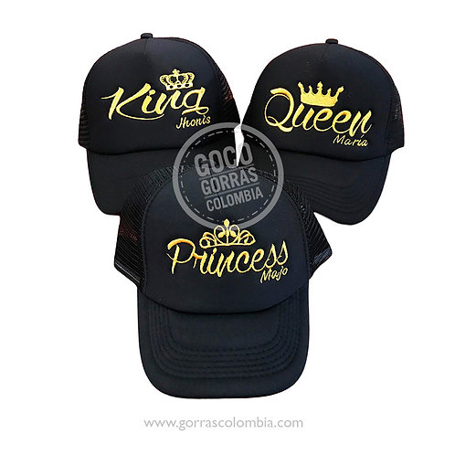 gorras negras unicolor para familia king, queen y princess