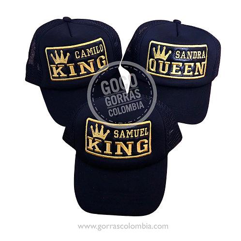 gorras negras unicolor para familia king, queen y king