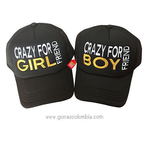 gorras negras unicolor para pareja crazy
