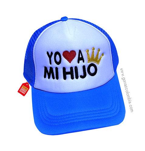 gorra azul frente blanco para familia yo amo a mi hijo