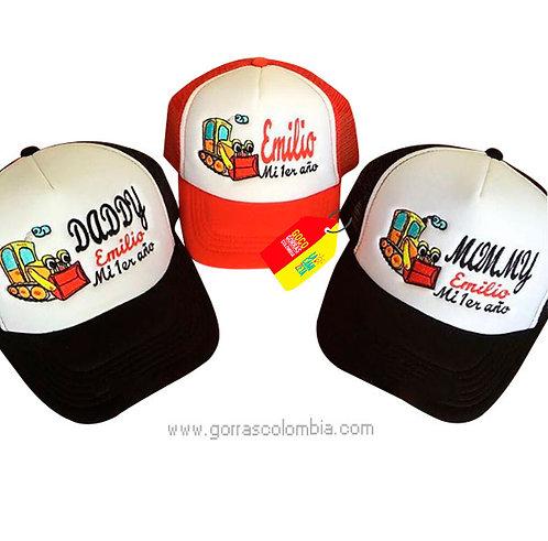 gorras negras y roja frente blanco para familia excavadora