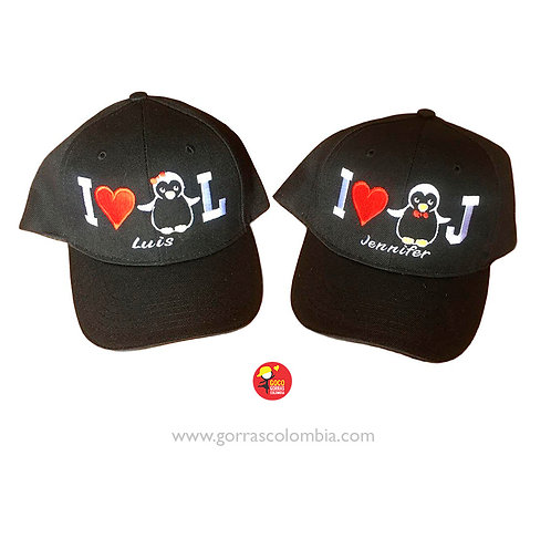gorras negras unicolor para pareja i love pinguinos