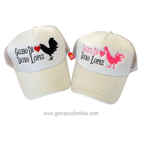 gorras blancas unicolor para pareja gallero y gallera