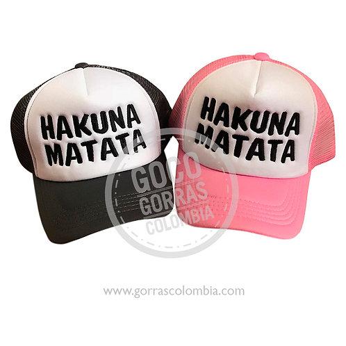 gorras negra y rosada frente blanco para amigas hakuna matata