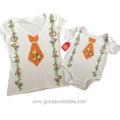 camisetas blancas para familia corbata y tirantas mono