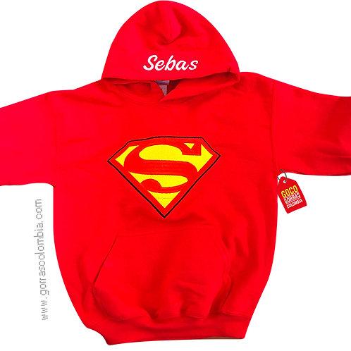 buso rojo con capota para niño superman