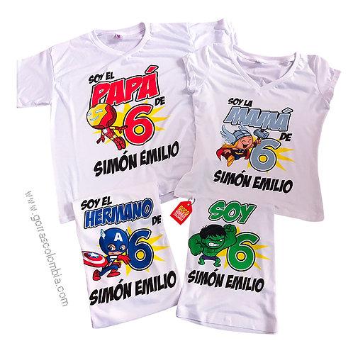 camisetas blancas para familia de super heroes
