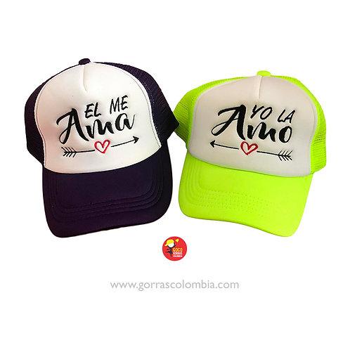 gorras negra y verde frente blanco para pareja amor