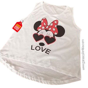 camiseta blanca personalizada love minnie
