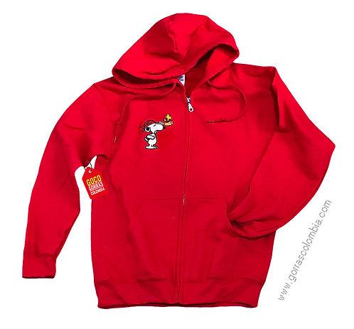 buso rojo con capota para niño de snoopy