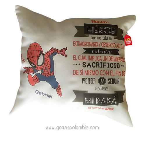 cojin blanco personalizado spiderman papá