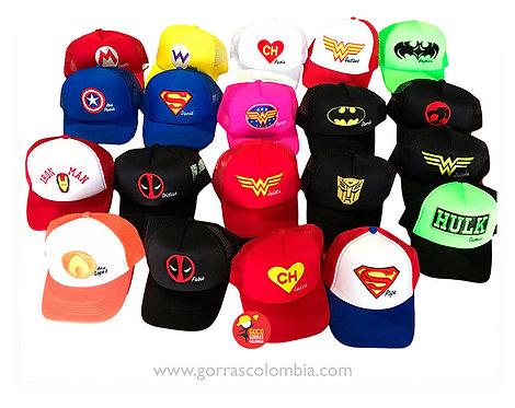gorras varias para fiesta de super heroes