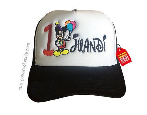 gorra negra frente blanco para niño de mickey cumpleaños
