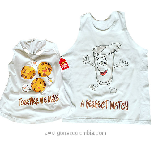 camisetas blancas para pareja de leche y galletas a perfect match