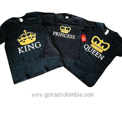 camisetas negras para familia de king, queen y princess