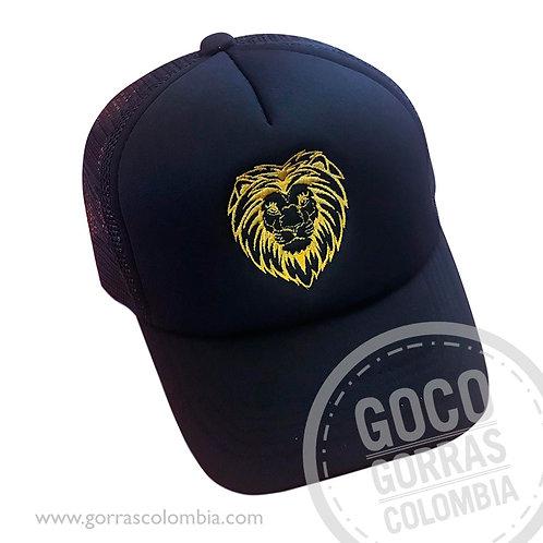 gorra negra unicolor personalizada leon