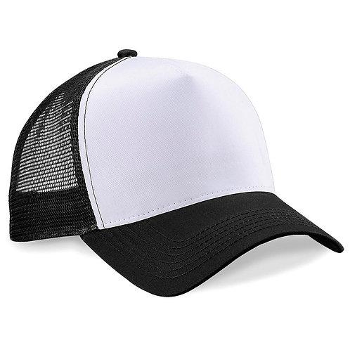 gorra negra de malla frente blanco personalizada