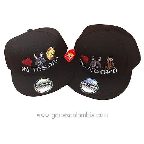 gorras negras unicolor para pareja mi tesoro te adoro