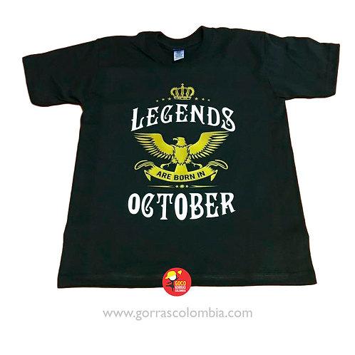 camiseta negra personalizada legends