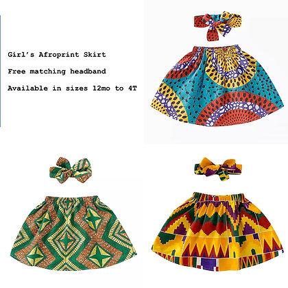 Afroprint Skirt for girls