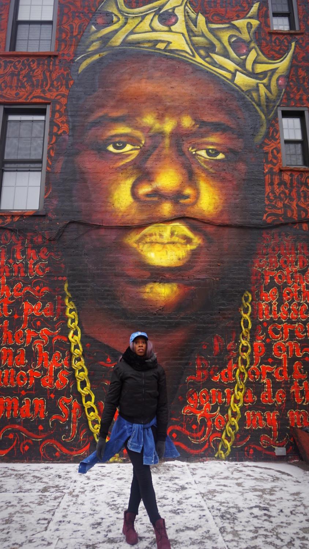 France Makabu at Notorious Big Mural