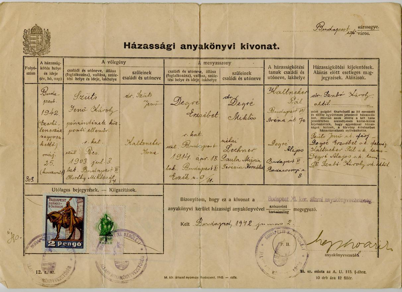 Szüleim házassági anyakönyvi kivonata
