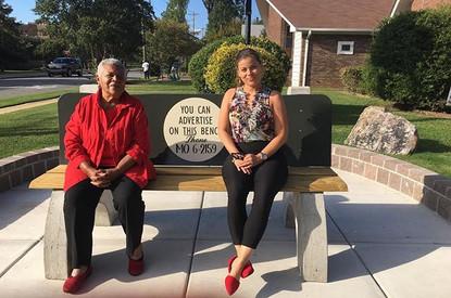 Sitting on the replica of Elizabeth Eckf