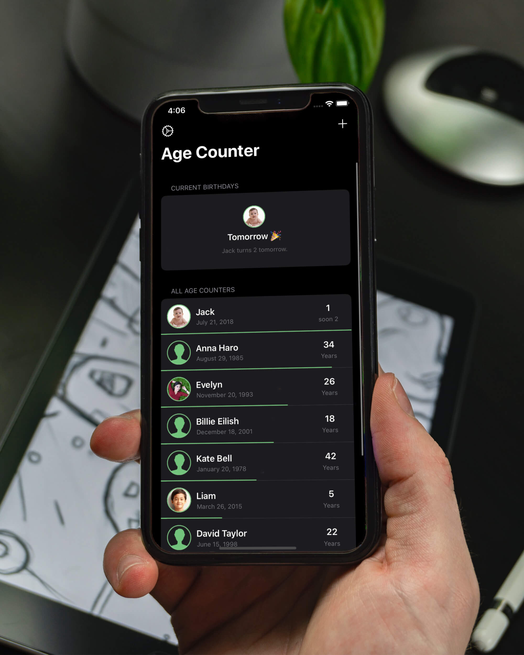 Age Counter using dark mode