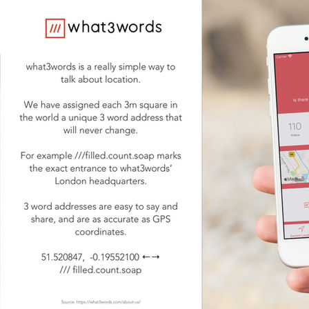 "what3words meets ""Global SOS"" app"