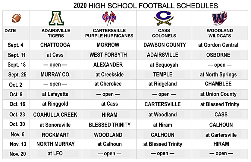 2020 HS FOOTBALL SCHEDULES edited August